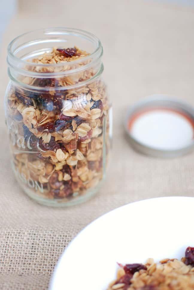 Mason jar full of homemade crockpot granola