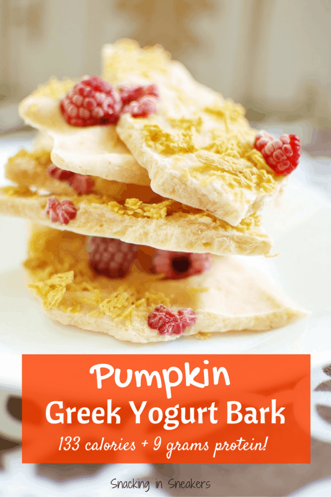 pumpkin greek yogurt bark stacked up on a plate