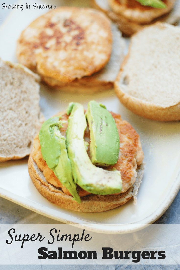 These salmon burgers are one of the easiest recipes ever! Just a few simple ingredients make a healthy family lunch or dinner that's done in under 15 minutes.
