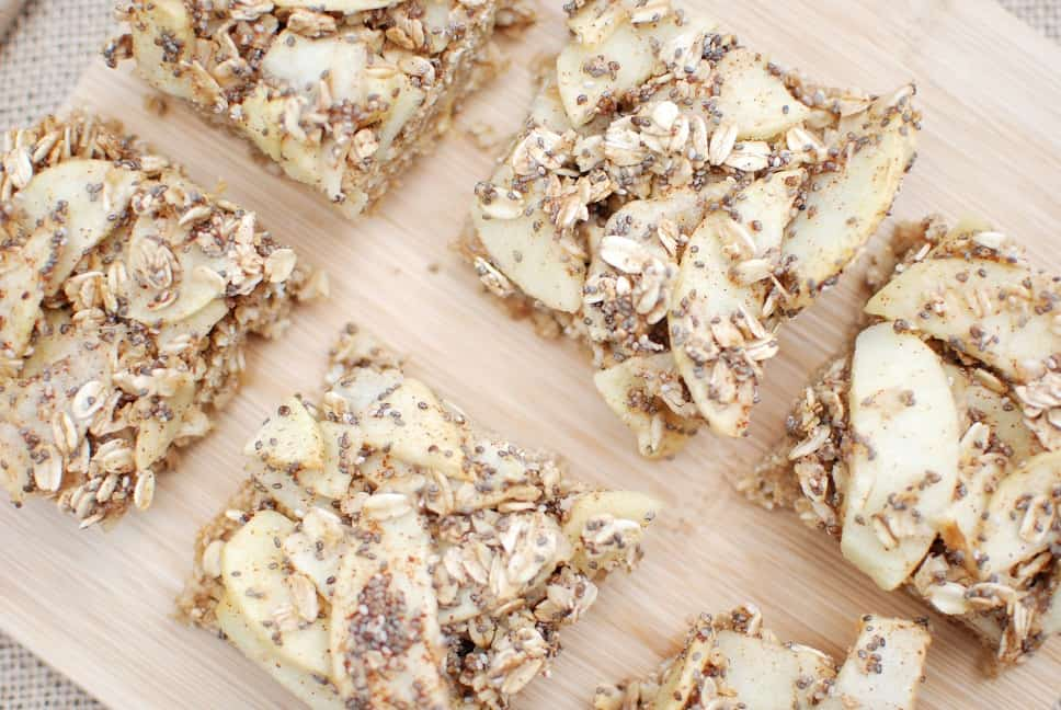 Overhead shot of vegan breakfast bars made with apple