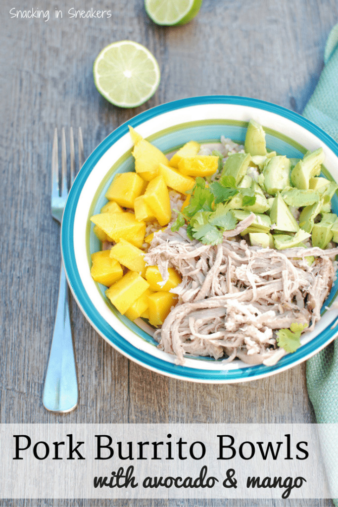 YUM! These pork burrito bowls with avocado and mango are so easy to make. Less than 10 ingredients to pick up at the store and less than 30 minutes of prep time! A great healthy dinner recipe.