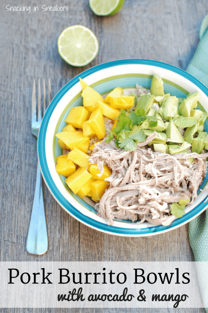 Pork Burrito Bowls with Avocado and Mango