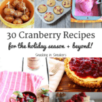 These 30 cranberry recipes are perfect to use throughout the holiday season – and beyond! Think homemade cranberry sauce, cranberry cookies, cranberry breads and more. Lots of healthy recipes too!