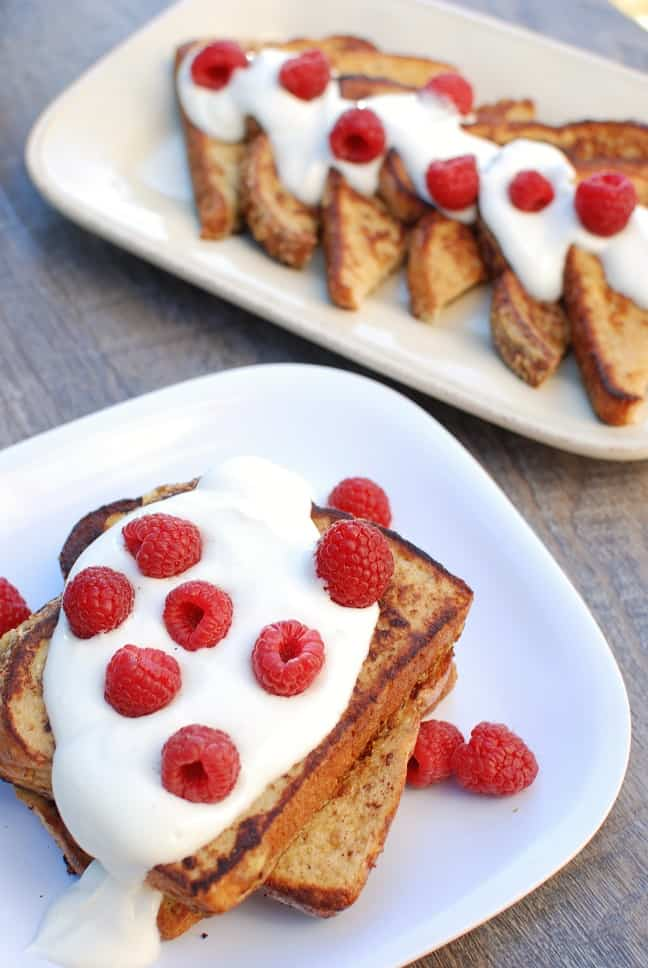 Eggnog French Toast makes a delicious holiday breakfast for the family! It's festive for Christmas and is all kinds of tasty. Plus, this better-for-you version packs in protein, calcium, and fiber!