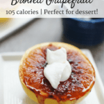 For just 100 calories, this broiled grapefruit makes an amazing healthy dessert! It packs in Vitamins A and C, and topping it with a dollop of greek yogurt helps add protein and calcium to the dish.