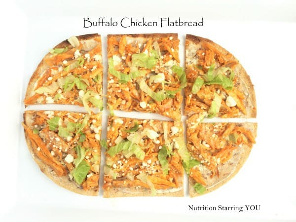 Buffalo chicken flatbread makes amazing better-for-you game day grub! Treat the football lovers in your life to this healthier snack.