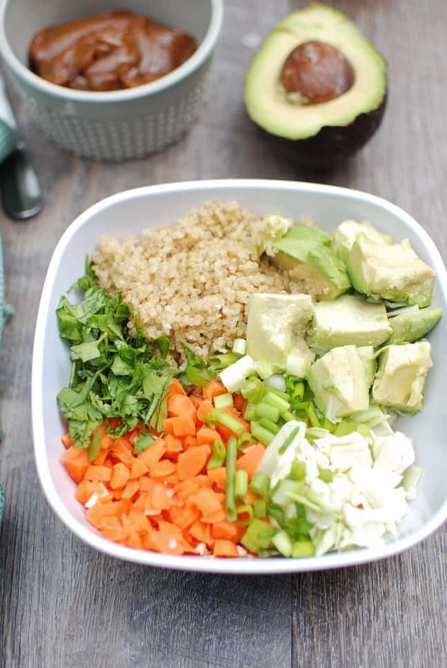 This thai buddha bowl is full of fresh ingredients like quinoa, cabbage and carrots. A peanut sauce pulls this healthy vegetarian recipe all together! Vegan, gluten free, and MSPI variations are included in the post.