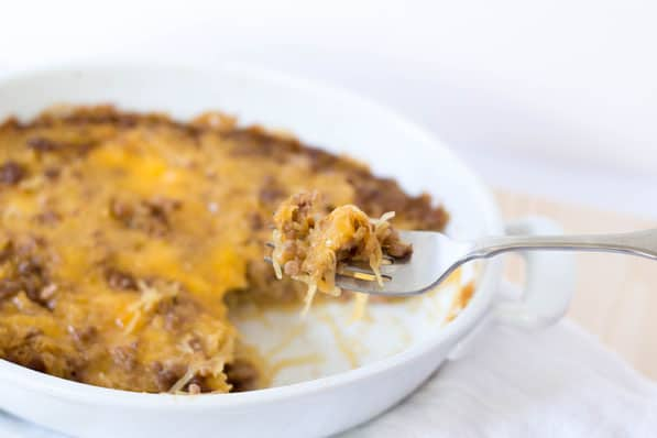 This cheeseburger casserole is an awesome healthy spaghetti squash recipe!