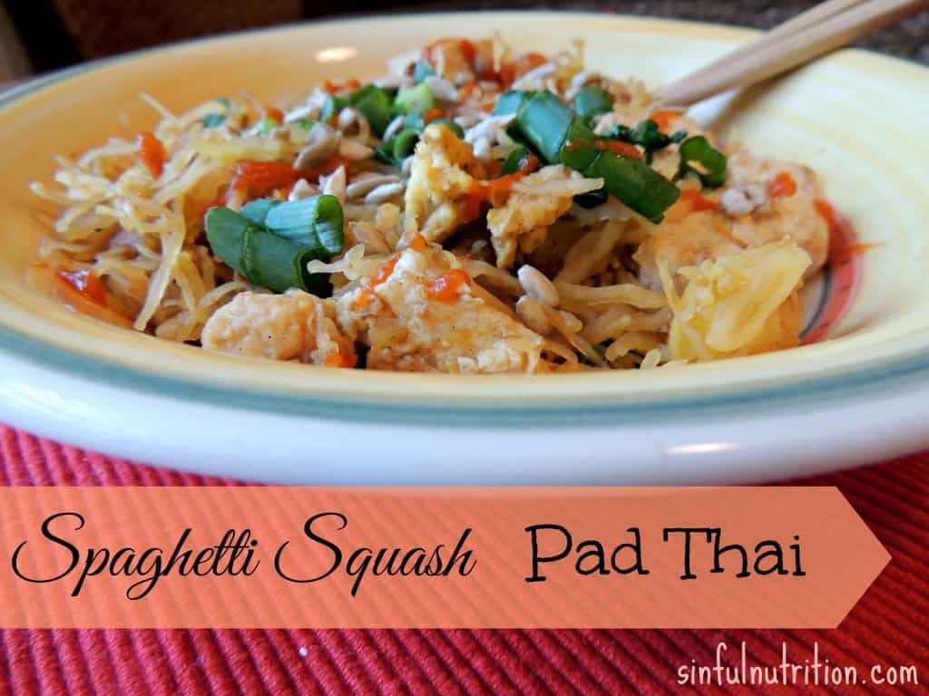 Vegetarian spaghetti squash pad thai