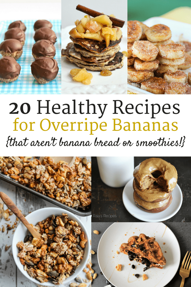 Have a bunch of bananas that are a little past their prime? Check out these 20 healthy recipes for overripe bananas. Many gluten free, dairy free, and clean eating options! Banana Recipes | Overripe Banana Recipes | Ripe Banana Recipes | Healthy Banana Recipes