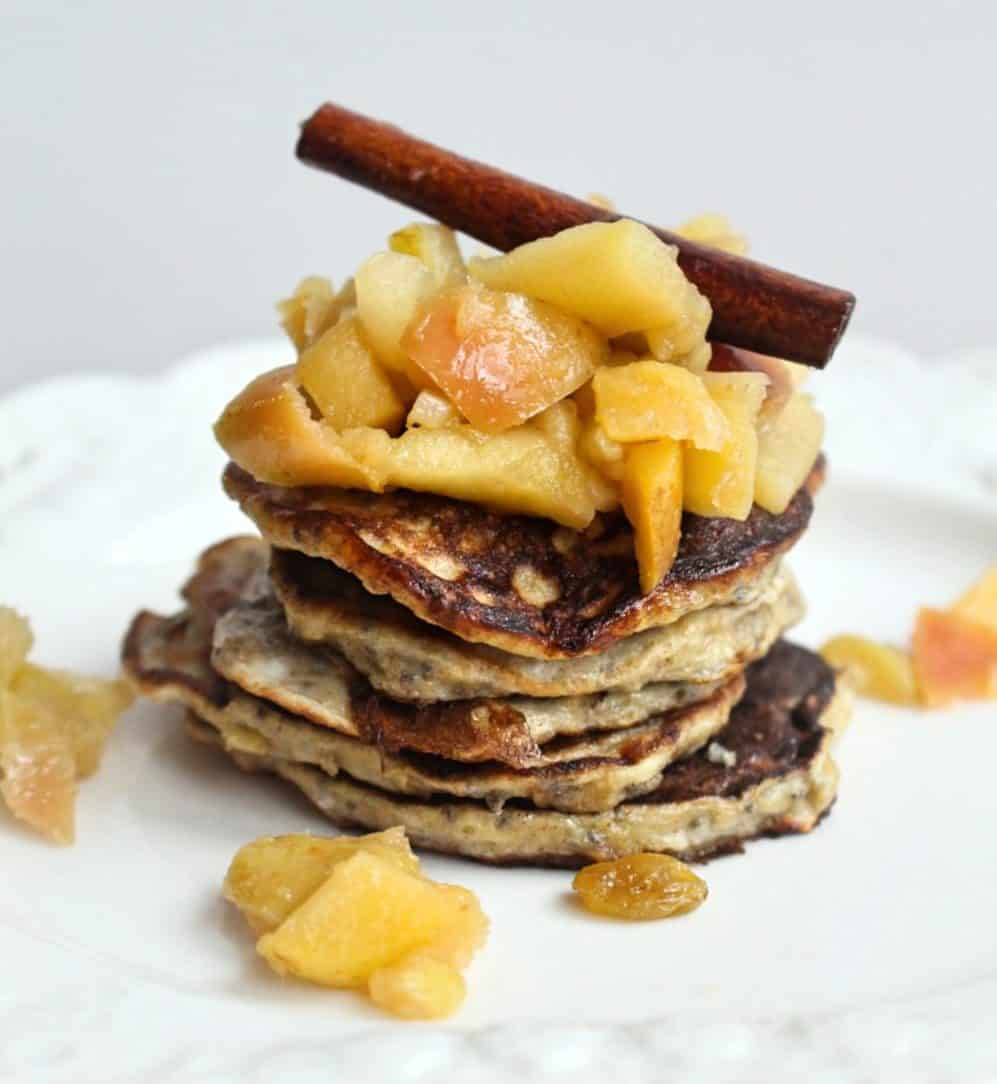These banana pancakes with apple compote are a perfect way to use up overripe bananas! | Healthy Breakfast | Overripe Banana Recipes | Ripe Banana Recipes | Healthy Banana Recipes
