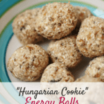 These hungarian cookie energy balls are a great sweet snack to enjoy any time of day! Just 100 calories each, vegan, and gluten free. They are also perfect for cyclists or ultra runners to make and use for long events! | Healthy Snacks | Healthy Snacks on the Go | Energy Bites | Energy Balls | Homemade Running Fuel