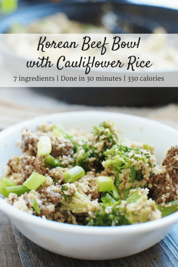 Korean Ground Beef Bowl with Cauliflower Rice & Broccoli
