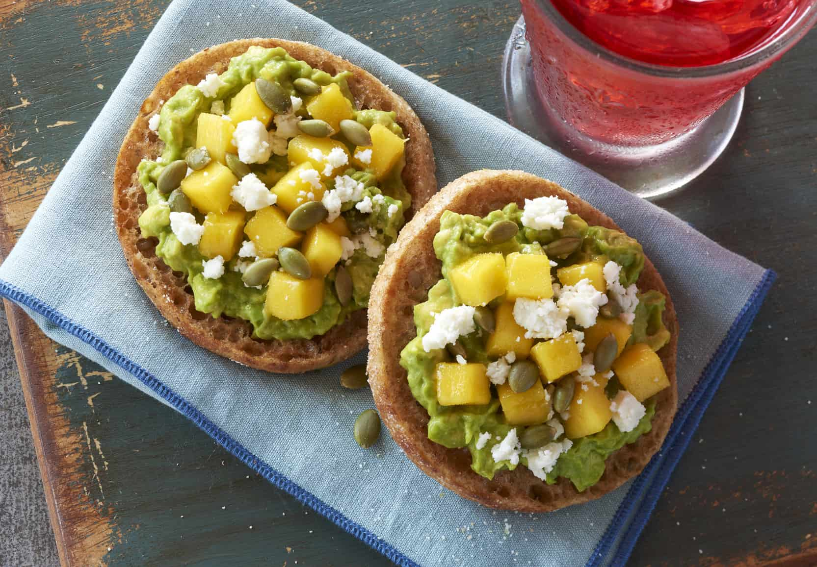 Mango Avocado English Muffin Toast is a tasty and healthy lunch or breakfast option!