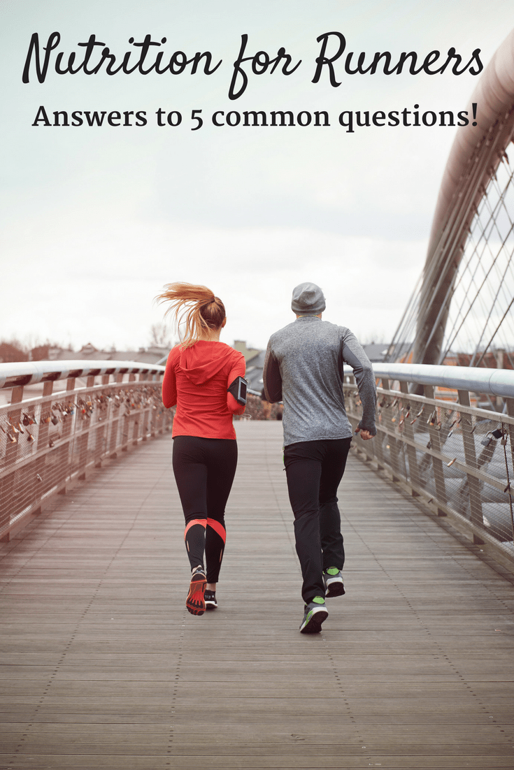 Ever wonder how much to drink on a run? Should you go high carb or cut the carbs? Are there real foods that can be used for fuel? Get answers to 5 of the most common running nutrition questions in this blog post! | Running Nutrition Tips | Running Nutrition Marathons | Running Nutrition Articles