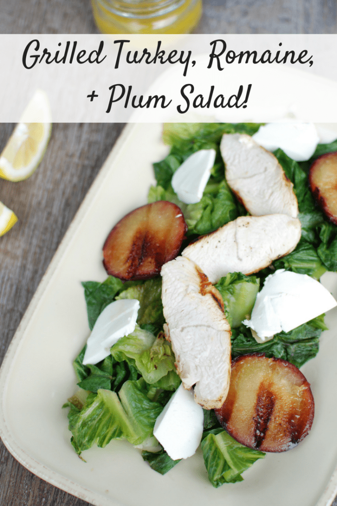 Grilled Lettuce Salad with Turkey, Plums, and Mozzarella