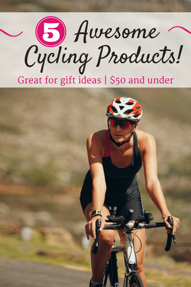 """A woman cycling outside on a sunny day with a text overlay that says """"5 awesome cycling products."""""""