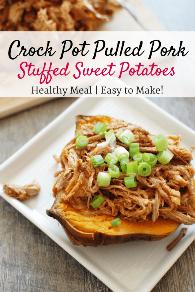 This crock pot pulled pork puts a healthy spin on a traditional favorite! Pork tenderloin means the meat is leaner, while a homemade Carolina style barbecue sauce means far less added sugar. Use it to make these pulled pork stuffed sweet potatoes, or whatever else you love to do with pulled pork!