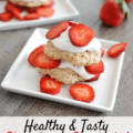 This healthy strawberry shortcake recipe is perfect for a summer dessert! It works great for a cookout –make the biscuits ahead of time and guests can add the toppings.