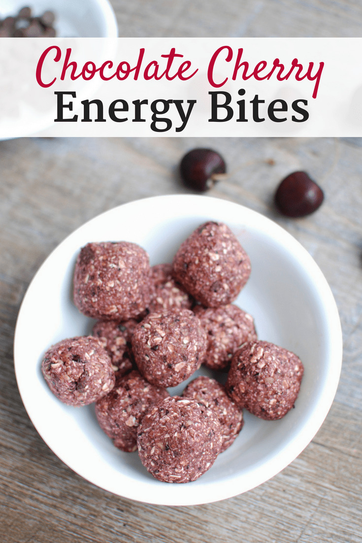 These chocolate cherry energy bites are perfect for satisfying a sweet craving! A healthy snack made with just 5 ingredients - plus they're vegan friendly and gluten free.