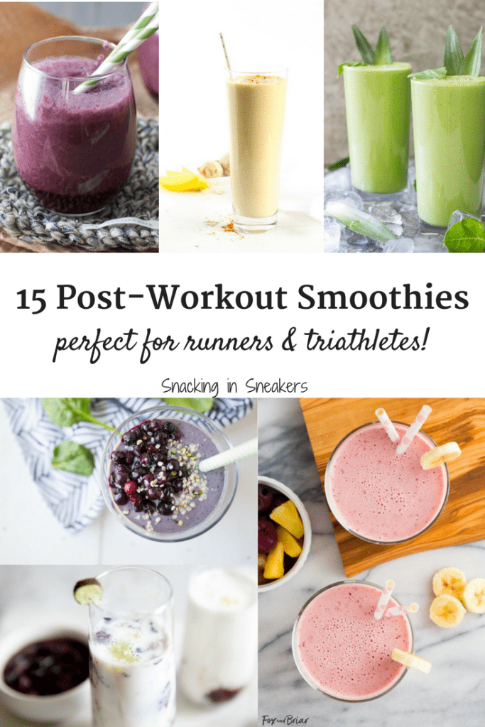 Collage of several different post workout smoothies