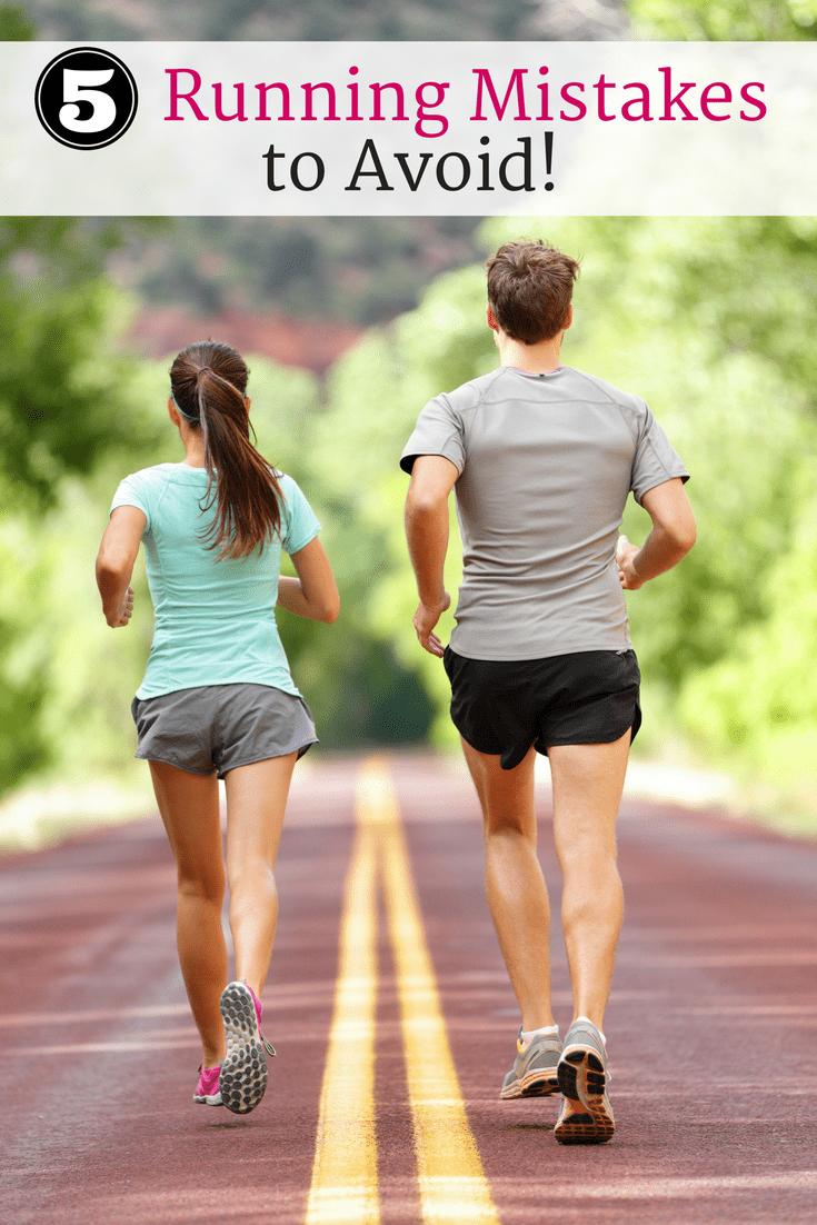 A couple running along a paved path with a text overlay about running mistakes to avoid