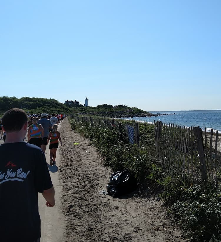 Falmouth Road Race Lighthouse on Course