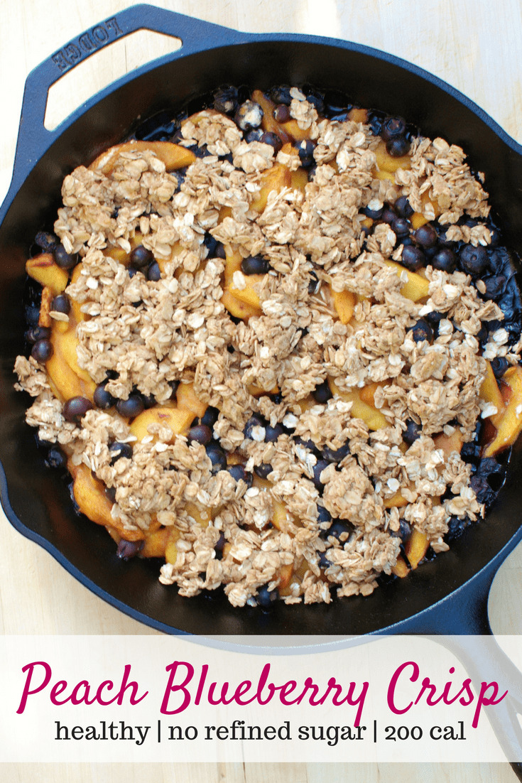 This healthy peach blueberry crisp is a skillet dessert that is sure to please!