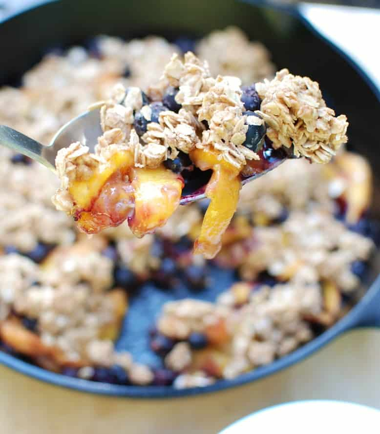 A spoonful of peach blueberry crisp