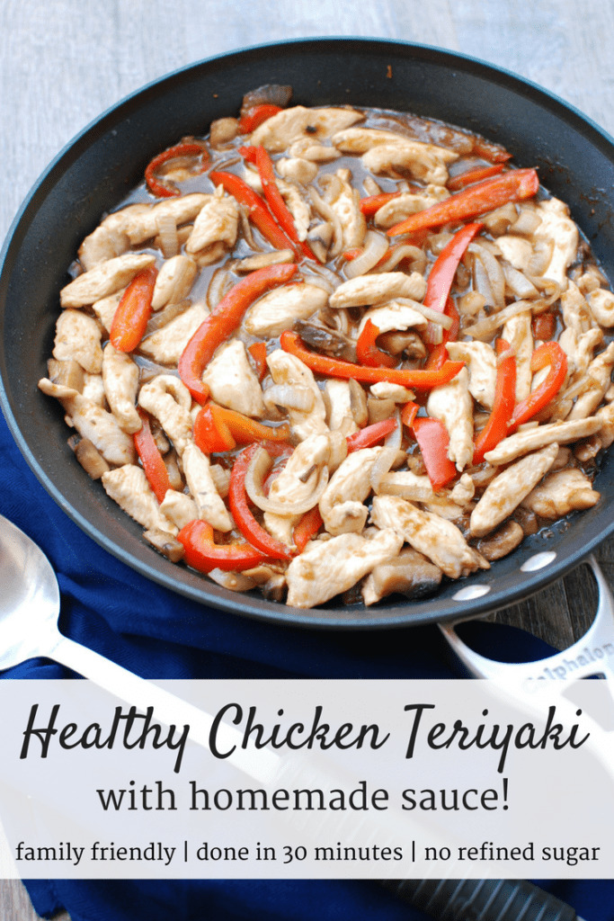 Pan full of healthy chicken teriyaki with chicken, peppers, and sauce