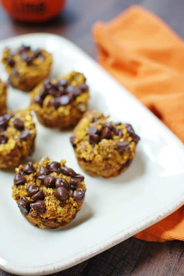 Healthy pumpkin baked oatmeal cups are great to make ahead, freeze, and heat up on cool fall mornings!