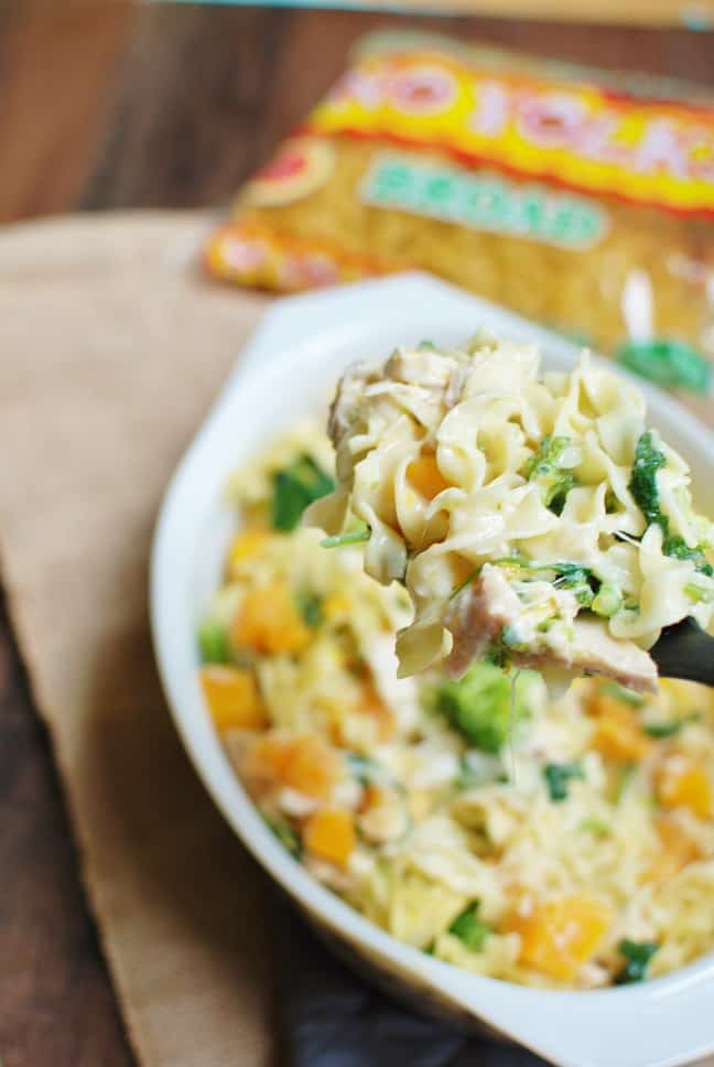 Craving a tasty noodle recipe? Try a butternut squash casserole with noodles, chicken, and broccoli!