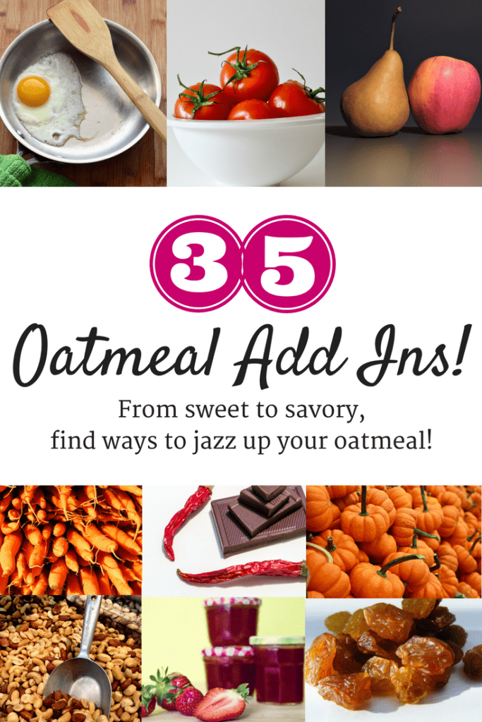 These 20 oatmeal add ins are sure to take your breakfast bowl to a whole new level. Think fruits, veggies, savory mix ins, chocolate, seeds, nuts, and more to make healthy oatmeal recipes all year long.