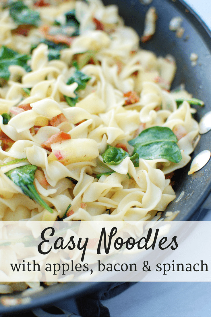 This easy noodle recipe is made with just seven ingredients, including noodles, bacon, apples and spinach. Super simple, super tasty!