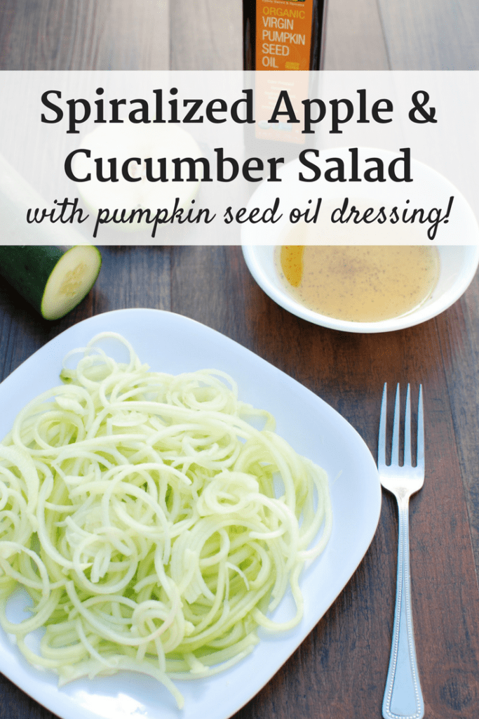 This spiralized apple and cucumber salad combines hydrating cucumbers alongside crisp, tart green apples, all tossed in a nutty pumpkin seed oil dressing.