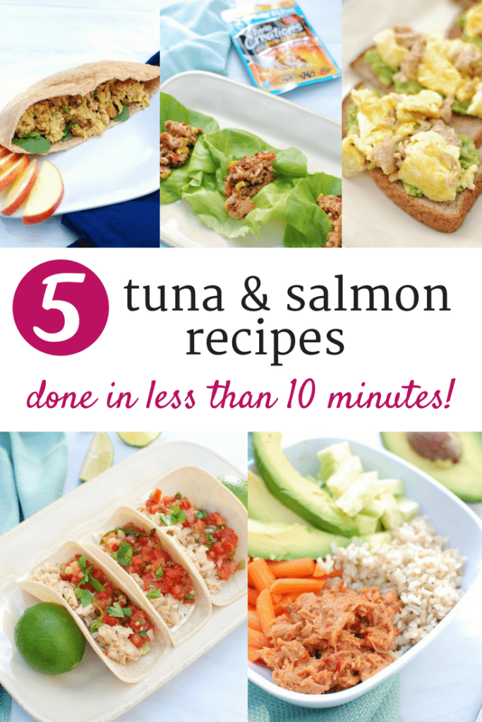 From tuna sushi bowls to salmon fish tacos, find 5 easy seafood recipes that are made in less than 10 minutes!