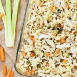 Chicken noodle soup casserole is an easy, dump and bake dinner! It's all the flavors of the classic soup, just without a ton of extra broth.