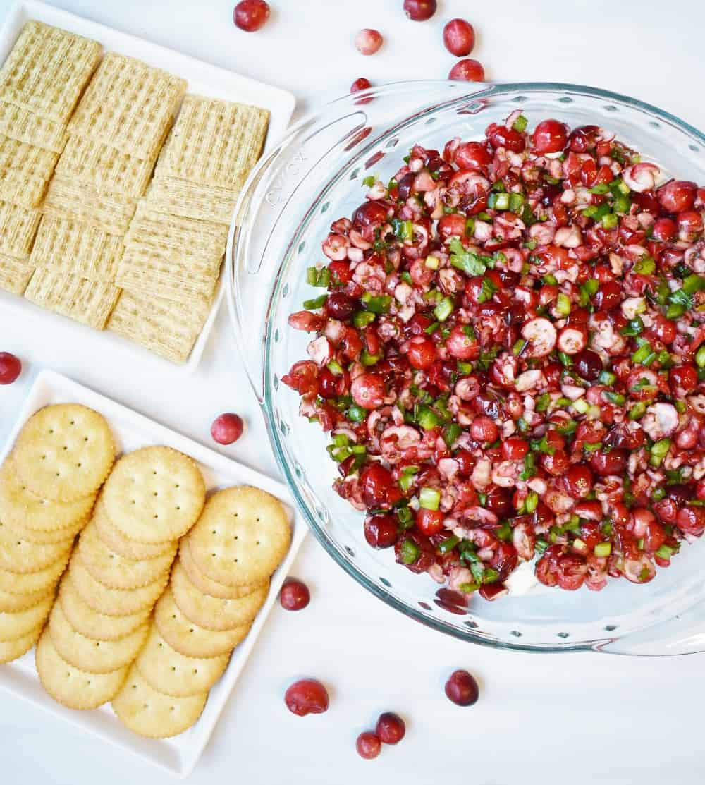 This cranberry jalapeno dip is a festive Christmas recipe that makes a perfect appetizer for your holiday parties!