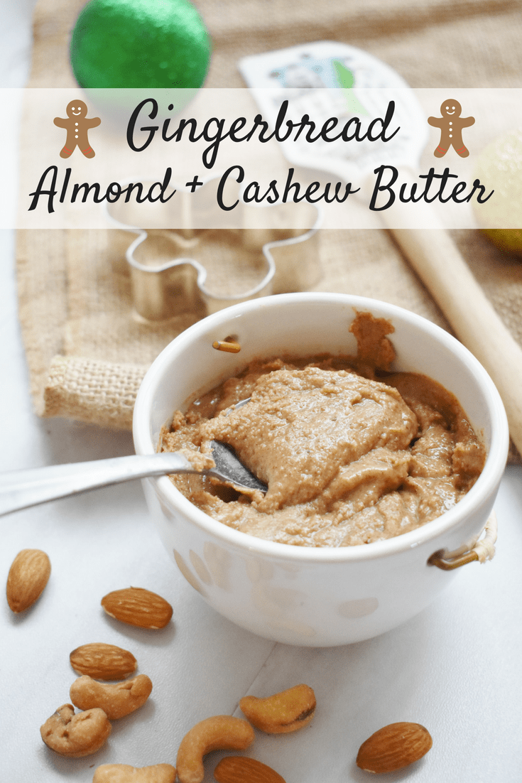 Homemade gingerbread almond cashew butter in a small cup with a spoon