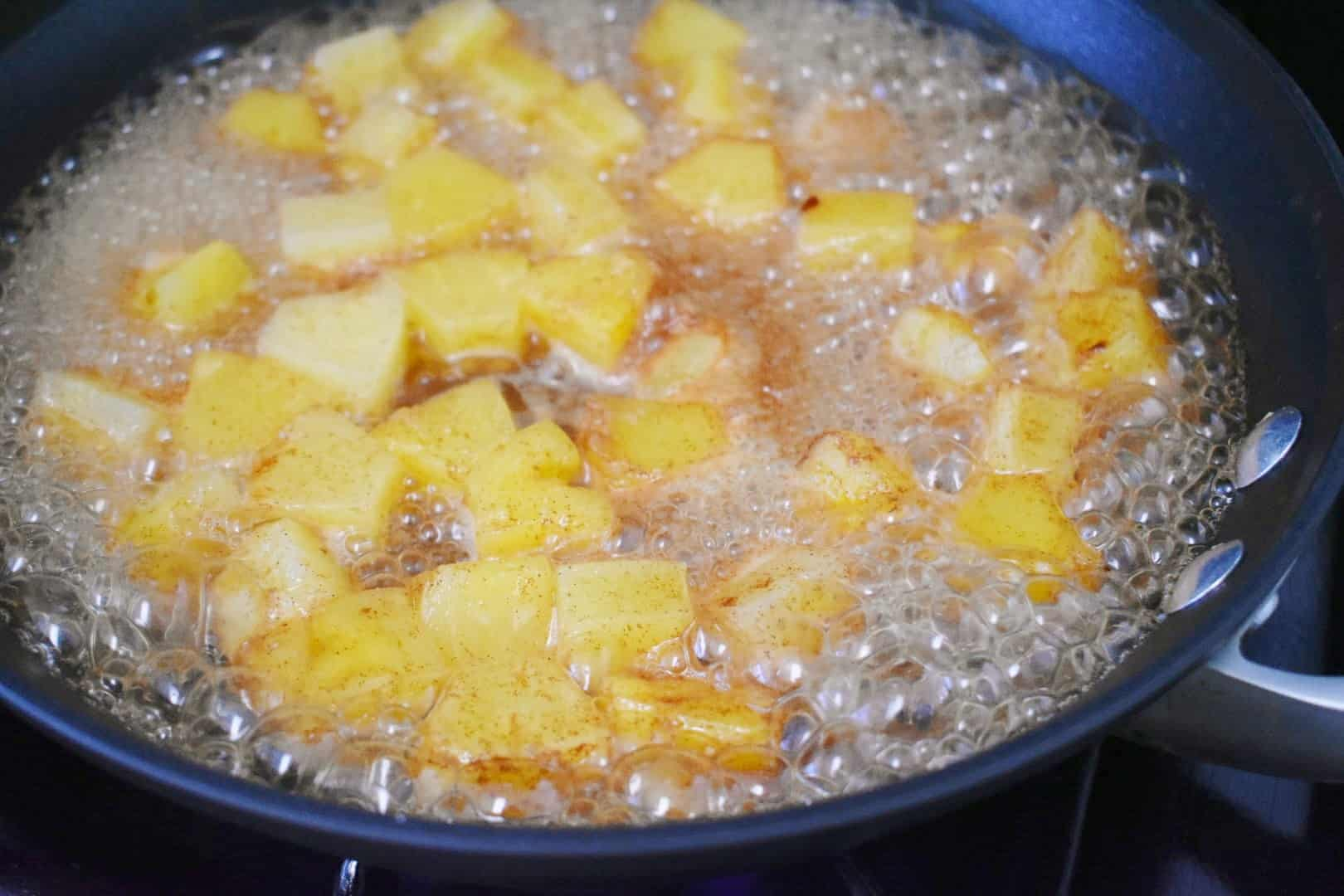Pineapple compote in a pan