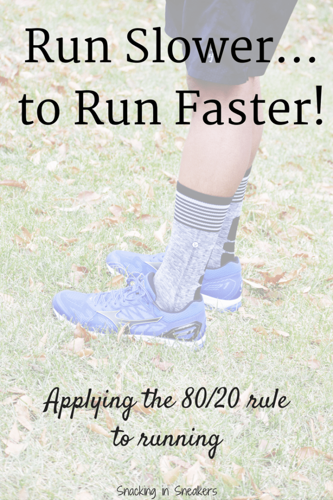 A pair of sneakers with a text overlay about running slower to run faster