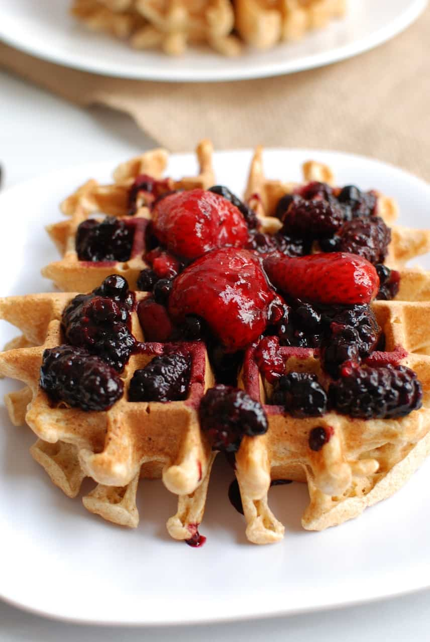 Whole grain einkorn waffles with warm berry compote