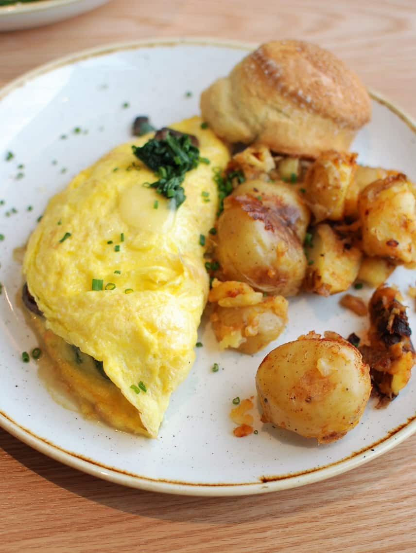 Omelet with Farm Fresh Eggs, Potatoes, and a Scone