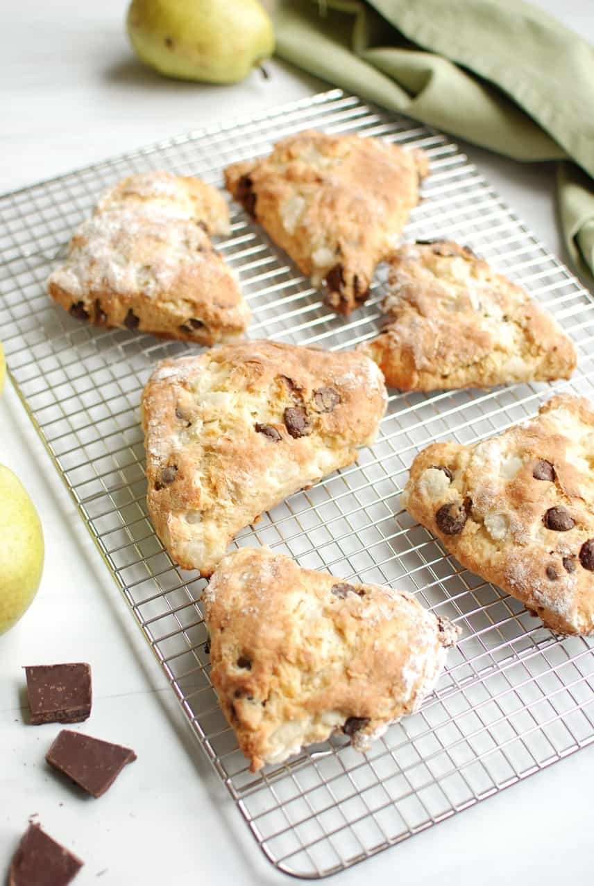 Pear and chocolate scones are a delicious wintertime treat that's easy to whip up quickly on the weekend!