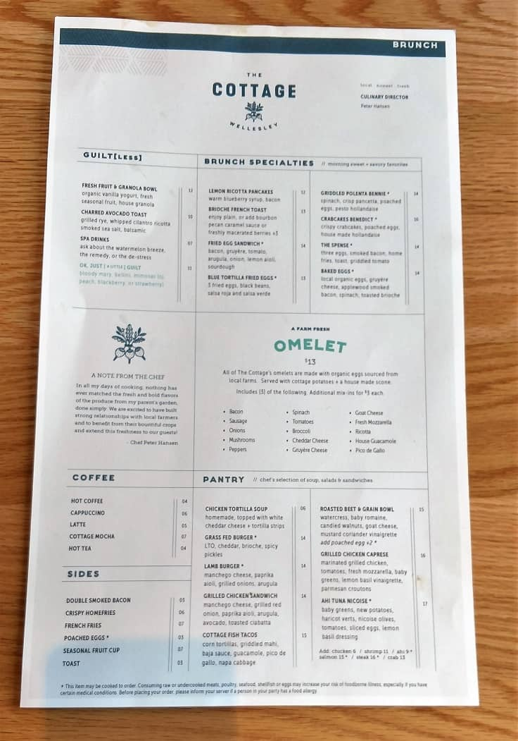 Cottage Wellesley Menu