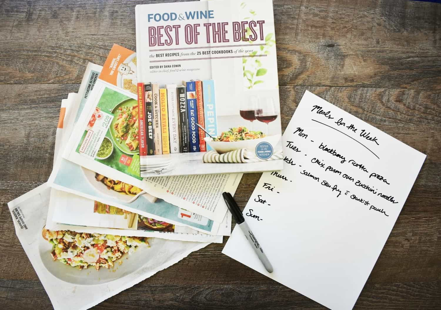 cookbook, recipes, and a menu plan