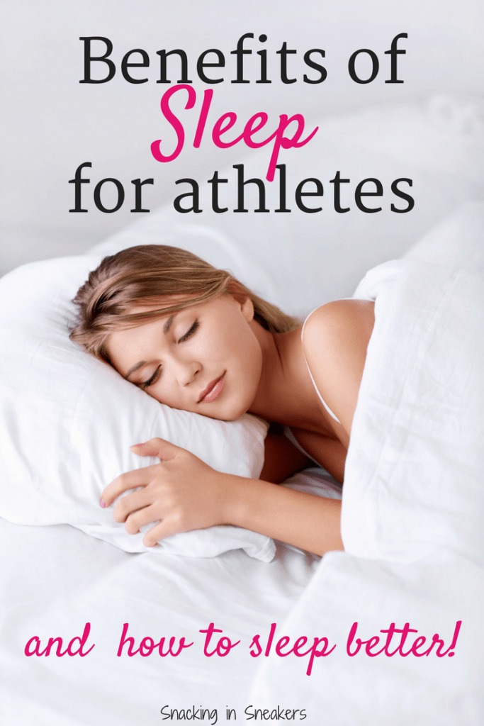 Woman sleeping with white sheets with a text overlay about benefits of sleep for athletes