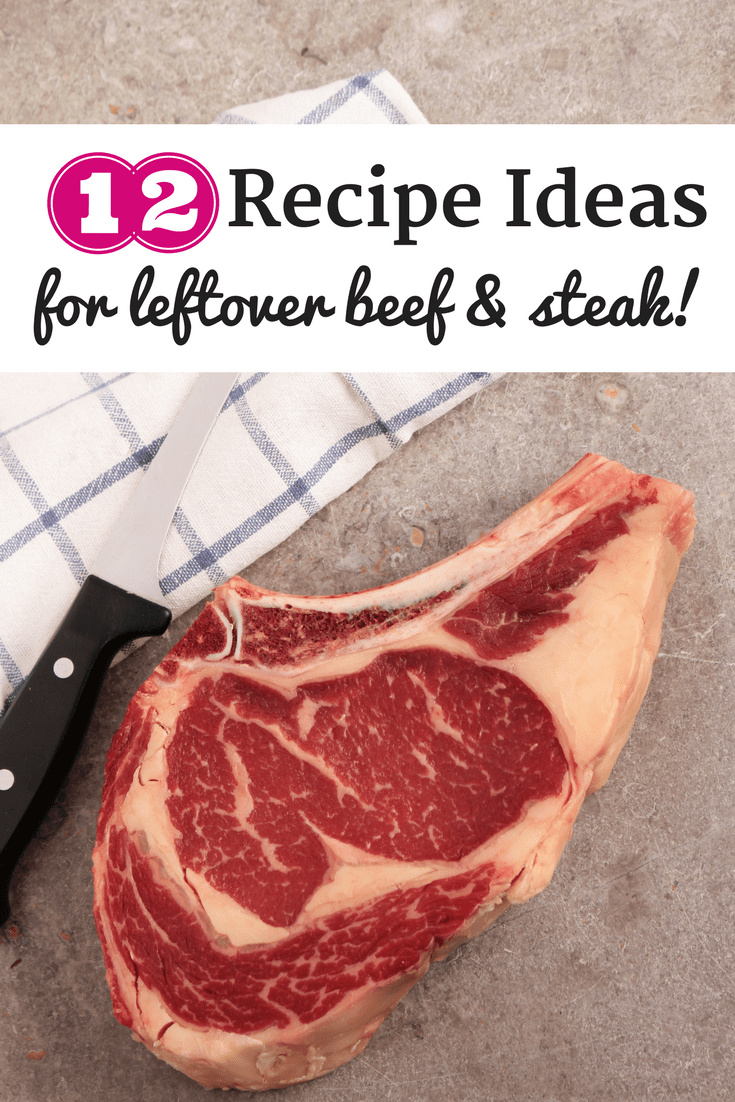 A steak, knife, and napkin with a text overlay that says recipe ideas for leftovers