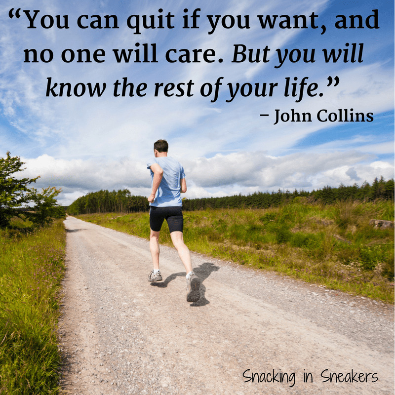 Runner on a road outside with a text overlay inspirational quote from John Collins