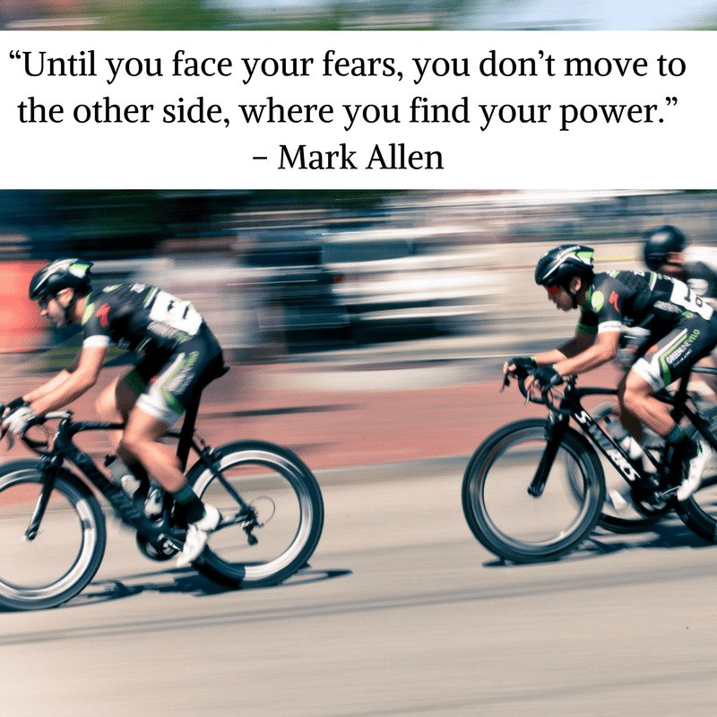 Triathlon quote from Mark Allen on a photo of cyclists